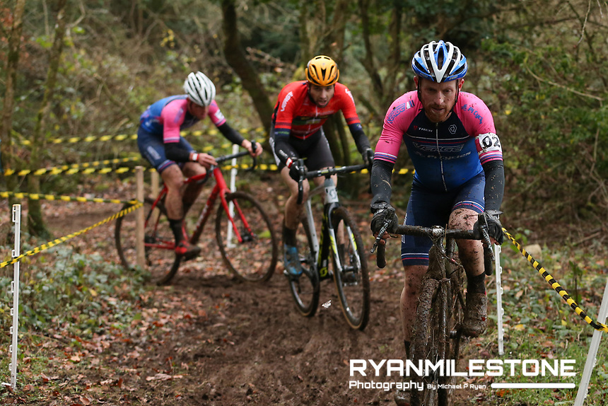 EVENT:<br /> Round 5 of the 2019 Munster CX League<br /> Drombane Cross<br /> Sunday 1st December 2019,<br /> Drombane, Co Tipperary<br /> <br /> CAPTION:<br /> Paidi O'Brien of Verge Sport PI Cycles leads the race from Richard Barry of St Finbarrs CC and Dillon Corkery of Verge Sport PI Cycles in action during the A Race - Senior<br /> <br /> Photo By: Michael P Ryan