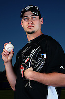 March 1, 2010:  Pitcher Dustin McGowan (29) of the Toronto Blue Jays poses for a photo during media day at Englebert Complex in Dunedin, FL.  Photo By Mike Janes/Four Seam Images