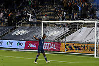 KANSAS CITY, KS - OCTOBER 24: #17 Gadi Kinda of Sporting Kansas City celebrates his goal in the second half during a game between Colorado Rapids and Sporting Kansas City at Children's Mercy Park on October 24, 2020 in Kansas City, Kansas.