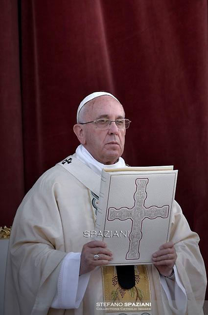 Pope Francis  during a Corpus Domini procession between the basilicas San Giovanni in Laterano and Santa Maria Maggiore on in Rome.4 june 2015