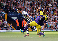 Sunday 01 September 2013<br /> Pictured: Jonathan de Guzman of Swansea (R) misses the opportunity to score, he is marked by Liam Ridgewell of West Brom (L).<br /> Re: Barclay's Premier League, West Bromwich Albion v Swansea City FC at The Hawthorns, Birmingham, UK.