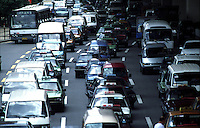 A congested street during rush hour in Shanghai, China. As more cars hit the roads, traffic jams are becoming an increasing problem in China's cities..