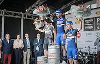 race winner Fernando Gaviria (COL/Etixx-QuickStep) flanked on the podium by Timothy Dupont (BEL/Verandas Willems) & Ariel Maximiliano Richeze (ARG/Etixx-QuickStep)<br /> <br /> 2016 Primus Classic Impanis - Van Petegem (1.HC)<br /> Belgium: Brakel › Boortmeerbeek (200.4km)