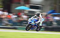 Matt Mladin in action during Sunday's American Superbike race at the Suzuki Big Kahuna Nationals, Virginia International Raceway, Alton, VA, August 2009. (Photo by Briain Cleary/www.bcpix.com)