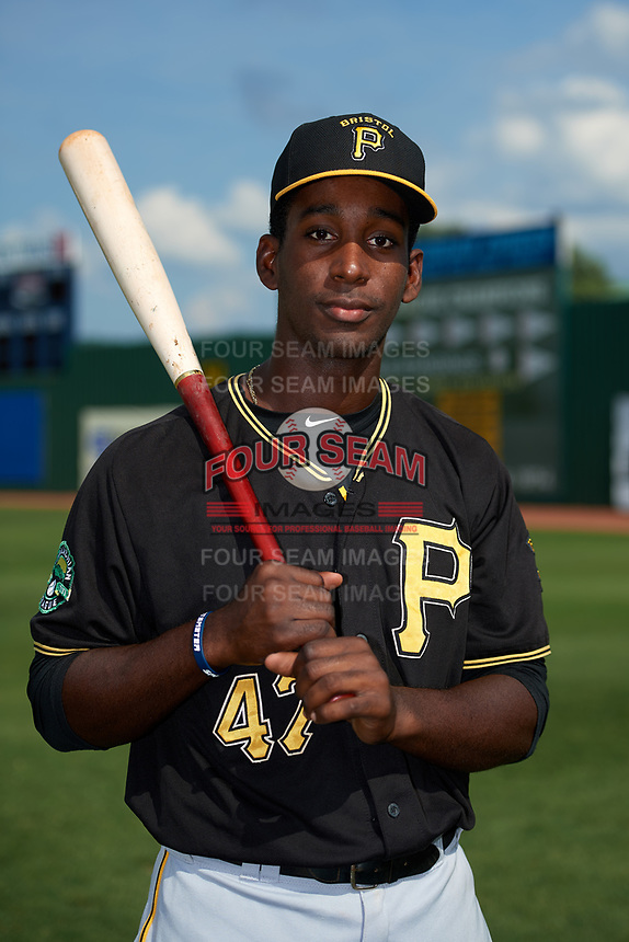Bristol Pirates Sherten Apostel (47) poses for a photo before a game against the Elizabethton Twins on July 29, 2018 at Joe O'Brien Field in Elizabethton, Tennessee.  Bristol defeated Elizabethton 7-4.  (Mike Janes/Four Seam Images)