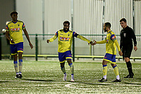 David Olufemi of Haringey Borough scores the first goal for his team and celebrates with his team mates during Haringey Borough vs Potters Bar Town, Pitching In Isthmian League Premier Division Football at Coles Park Stadium on 28th September 2021