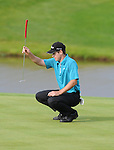 Course leader Scott Strange eyes up his putt on the 18th green Celtic Manor Wales Open 2008 Day 3. © Ian  Cook, IJC Photography, www.ijcphotography.co.uk, iancook@ijcphotography.co.uk.