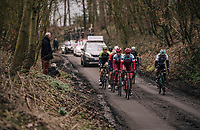 Viacheslav Kuznetsov (RUS/Katusha-Alpecin), Tony Martin (GER/Katusha-Alpecin) & Co up the muddy Karnemelkbeekstraat with World Champion Peter Sagan (SVK/Bora-Hansgrohe) in a beaten position at this point<br /> <br /> 61th E3 Harelbeke (1.UWT)<br /> Harelbeke - Harelbeke (206km)