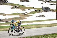 yellow jersey / GC leader Alexey Lutsenko (KAZ/Astana - Premier Tech) descending the Cormet de Roselend <br /> <br /> 73rd Critérium du Dauphiné 2021 (2.UWT)<br /> Stage 7 from Saint-Martin-le-Vinoux to La Plagne (171km)<br /> <br /> ©kramon
