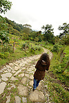 A woman hiker in the cloud forest, Chicaque, outside Bogota, Colombia.