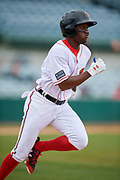 Florida Fire Frogs right fielder Anfernee Seymour (5) runs to first base during a game against the Daytona Tortugas on April 8, 2018 at Osceola County Stadium in Kissimmee, Florida.  Daytona defeated Florida 2-1.  (Mike Janes/Four Seam Images)