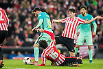 Lionel Andres Messi of FC Barcelona fights for the ball with Xabier Etxeita Gorritxategi of Athletic Club during their Copa del Rey Round of 16 first leg match between Athletic Club and FC Barcelona at San Mames Stadium on 05 January 2017 in Bilbao, Spain. Photo by Victor Fraile / Power Sport Images