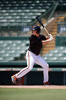 GCL Orioles Gunnar Henderson (9) at bat during a Gulf Coast League game against the GCL Red Sox on July 29, 2019 at Ed Smith Stadium in Sarasota, Florida.  GCL Red Sox defeated the GCL Pirates 9-1.  (Mike Janes/Four Seam Images)