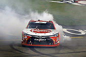 #20: Christopher Bell, Joe Gibbs Racing, Toyota Camry Rheem celebrates his win with a burnout