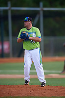 Tyler Dowdy during the WWBA World Championship at the Roger Dean Complex on October 20, 2018 in Jupiter, Florida.  Tyler Dowdy is a first baseman / right handed pitcher from Plant City, Florida who attends Plant City High School.  (Mike Janes/Four Seam Images)