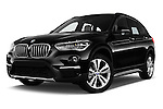 Stock pictures of low aggressive front three quarter view of 2016 BMW X1 xLine 5 Door Suv Low Aggressive