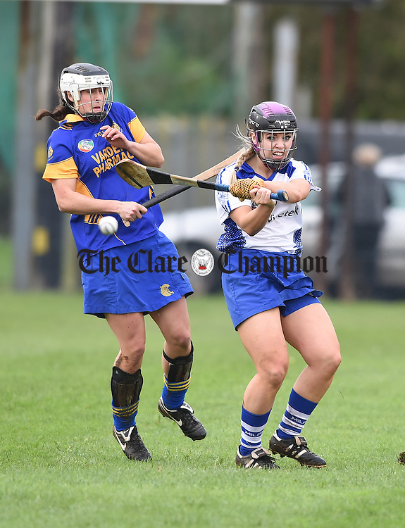 Iris Kaiser of Newmarket on Fergus in action against Anna Geary of Milford during the Munster senior club final in Ballyagran. Photograph by John Kelly.