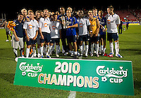 21 July 2010:  Bolton Wanderers celebrate winning the Carlsberg Cup during a game between the Bolton Wanderers and Toronto FC at BMO Field in Toronto..Bolton Wanderers FC  won on penalties.