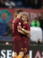 Calcio, Serie A: Roma, stadio Olimpico, 1 aprile, 2017.<br /> Roma's Edin Dzeko (l) celebrates after scoring with his teammate Bruno Peres (r) during the Italian Serie A football match between Roma and Empoli at Olimpico stadium, April 1, 2017<br /> UPDATE IMAGES PRESS/Isabella Bonotto