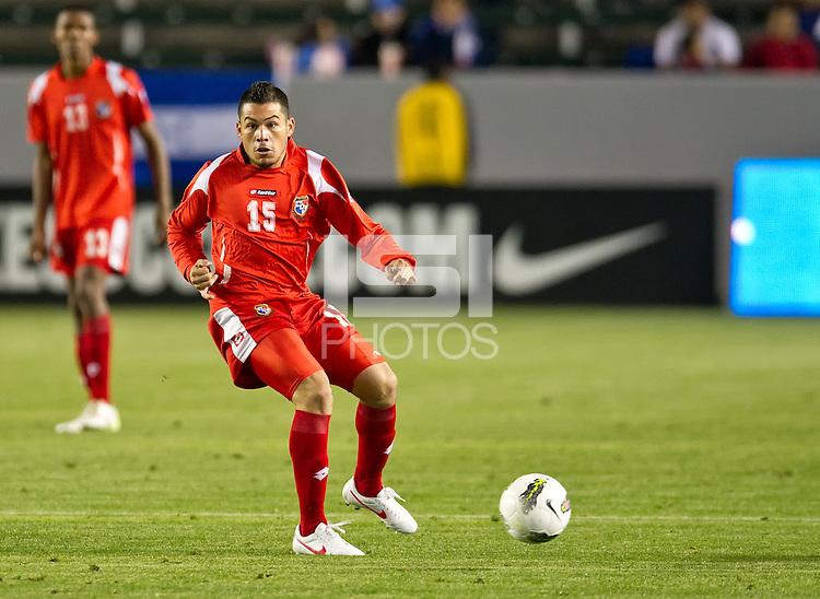 CARSON, CA - March 23, 2012: Javier Cadeno (15) of Panama during the Honduras vs Panama match at the Home Depot Center in Carson, California. Final score Honduras 3, Panama 1.