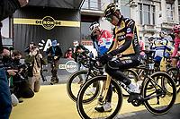 defending champion Mathieu Van der Poel (NED/Alpecin-Fenix) and his ever nemesis Wout van Aert (BEL/Jumbo-Visma) getting a lot of attention at the race start in Antwerpen<br /> <br /> 105th Ronde van Vlaanderen 2021 (MEN1.UWT)<br /> <br /> 1 day race from Antwerp to Oudenaarde (BEL/264km) <br /> <br /> ©kramon