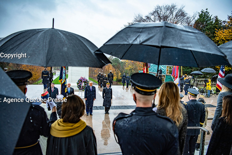 (From left to right) Secretary of Veterans Affairs Robert Wilkie; Vice President Michael R. Pence; President Donald J. Trump; and U.S. Army Maj. Gen. Omar Jones IV, commanding general, U.S. Army Military District of Washington participate in a Presidential Armed Forces Full Honor Wreath-Laying Ceremony at the Tomb of the Unknown Soldier; Arlington National Cemetery; Arlington; Virginia; November 11; 2020. The wreath was laid by President Trump as part of the nation's 67th Veterans Day Observance. (U.S. Army photo by Elizabeth Fraser / Arlington National Cemetery / released)