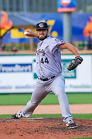Kane County Cougars pitcher Cody Clark (44) delivers a pitch during game one of a Midwest League doubleheader against the Wisconsin Timber Rattlers on June 23, 2017 at Fox Cities Stadium in Appleton, Wisconsin.  Kane County defeated Wisconsin 4-3. (Brad Krause/Four Seam Images)