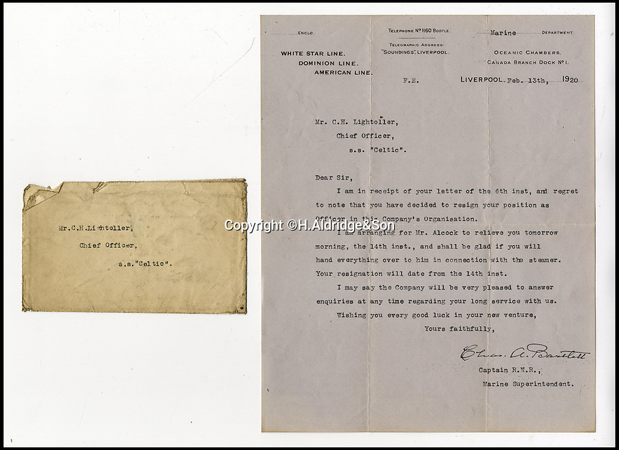 BNPS.co.uk (01202 558833)?Pic: H.Aldridge&Son/BNPS<br /> <br /> A letter from Charles Bartlett, Marine Superintendent of White Star Line dated February 13th 1920 to Charles Lightoller.  The letter confirms receipt of his letter of resignation.<br /> <br /> A menu for the first ever meal served on Titanic has sold for a world record £100,000.<br /> <br /> The incredibly rare postcard-size menu was for lunch on April 2, 1912, which was the first day of the doomed liner's sea trials in the Irish Sea.<br /> <br /> Senior officers, officials from shipbuilders Harland and Wolff and VIPs sat down in the main dining saloon.<br /> <br /> In keeping with the opulent surroundings and the quality of fare to be served to the first class passengers, the small group indulged in only the finest of food.<br /> <br /> There was consumme mirrette and cream of chicken to start, salmon and sweat bread for the fish course, spring lamb, roast chicken and braised ham for mains and pudding sans souci and peaches imperial for desert followed by coffee.