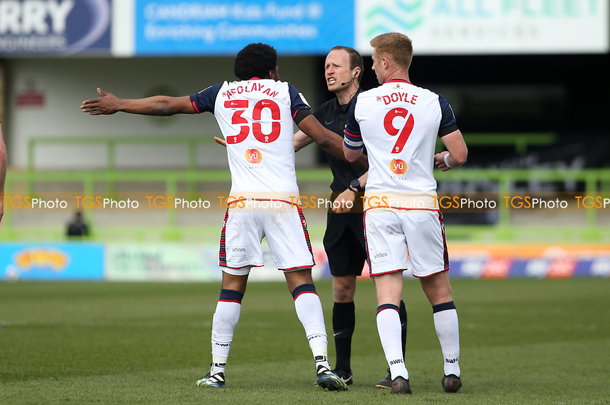 Bolton Wanderers's Oladapo Afolayan during Forest Green Rovers vs Bolton Wanderers, Sky Bet EFL League 2 Football at The New Lawn on 27th March 2021