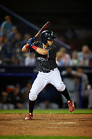 Reading Fightin Phils Jose Gomez (15) bats during an Eastern League game against the Trenton Thunder on August 16, 2019 at FirstEnergy Stadium in Reading, Pennsylvania.  Trenton defeated Reading 7-5.  (Mike Janes/Four Seam Images)