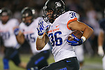 Boise State's Tyler Gray returns an interception for 32 yards in the first half of an NCAA college football game against Nevada, in Reno, Nev., on Saturday, Oct. 4, 2014. Boise State won 51-46. (AP Photo/Cathleen Allison)