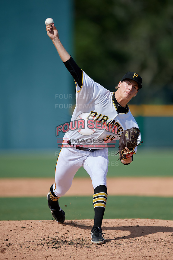 GCL Pirates pitcher Quinn Priester (34) during a Gulf Coast League game against the GCL Twins on August 6, 2019 at Pirate City in Bradenton, Florida.  GCL Twins defeated the GCL Pirates 4-2 in the first game of a doubleheader.  (Mike Janes/Four Seam Images)
