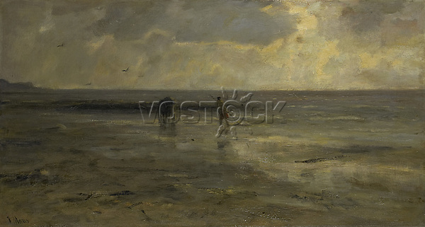 Beach at night - by Jacob Maris, 1890