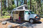 Camper van with pop top open.  NW EVC Campoiut, Spring 2015. Lake Wenatchee State Park, Washington, USA
