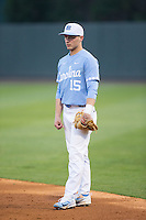 North Carolina Tar Heels first baseman Michael Busch (15) on defense against the Kentucky Wildcats at Boshmer Stadium on February 17, 2017 in Chapel Hill, North Carolina.  The Tar Heels defeated the Wildcats 3-1.  (Brian Westerholt/Four Seam Images)