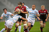 20121020 Copyright onEdition 2012©.Free for editorial use image, please credit: onEdition..Steve Borthwick of Saracens is tackled by Dimitri Szarzewski of Racing Metro 92 during the Heineken Cup Round 2 match between Saracens and Racing Metro 92 at the King Baudouin Stadium, Brussels on Saturday 20th October 2012 (Photo by Rob Munro)..For press contacts contact: Sam Feasey at brandRapport on M: +44 (0)7717 757114 E: SFeasey@brand-rapport.com..If you require a higher resolution image or you have any other onEdition photographic enquiries, please contact onEdition on 0845 900 2 900 or email info@onEdition.com.This image is copyright the onEdition 2012©..This image has been supplied by onEdition and must be credited onEdition. The author is asserting his full Moral rights in relation to the publication of this image. Rights for onward transmission of any image or file is not granted or implied. Changing or deleting Copyright information is illegal as specified in the Copyright, Design and Patents Act 1988. If you are in any way unsure of your right to publish this image please contact onEdition on 0845 900 2 900 or email info@onEdition.com