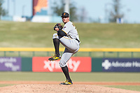 Surprise Saguaros relief pitcher Geoff Hartlieb (70), of the Pittsburgh Pirates organization, delivers a pitch during an Arizona Fall League game against the Mesa Solar Sox at Sloan Park on November 15, 2018 in Mesa, Arizona. Mesa defeated Surprise 11-10. (Zachary Lucy/Four Seam Images)