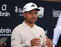7th July 2021; North Berwick, East Lothian, Scotland; Xander Schauffele USA shows off his brand new wedding ring as he holds a press conference,  during practise at the abrdn Scottish Open at The Renaissance Club, North Berwick, Scotland.