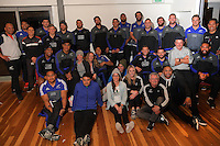 The NZ Rugby event staff pose for a group photo with the NZ All Blacks. 2016 Air NZ Rippa Rugby World Cup Championship at Poneke RFC, Wellington, New Zealand on Monday, 22 August 2016. Photo: Dave Lintott / lintottphoto.co.nz