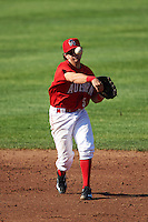 Auburn Doubledays shortstop Angelo La Bruna (5) throws to first during a game against the Mahoning Valley Scrappers on June 19, 2016 at Falcon Park in Auburn, New York.  Mahoning Valley defeated Auburn 14-3.  (Mike Janes/Four Seam Images)