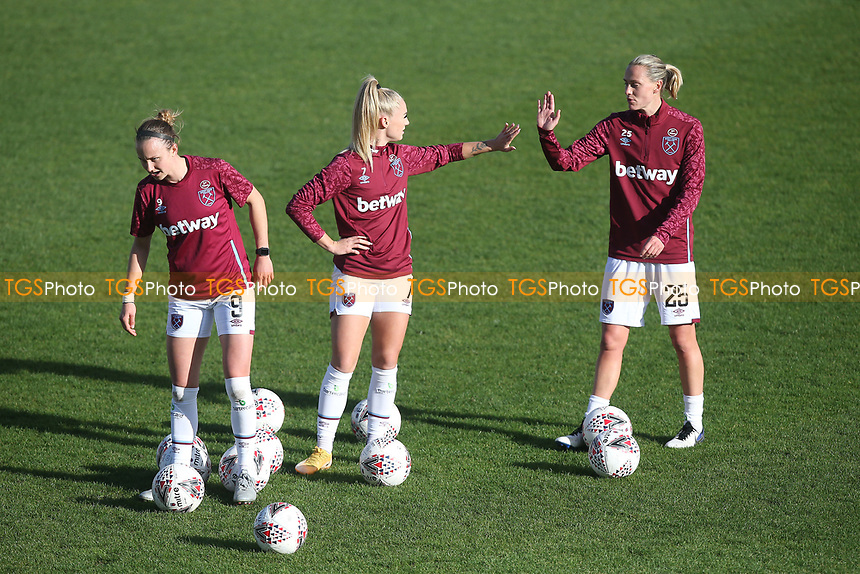 Emily van Egmond (R) and Alisha Lehmann of West Ham during West Ham United Women vs Brighton & Hove Albion Women, Barclays FA Women's Super League Football at the Chigwell Construction Stadium on 15th November 2020