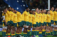The Wallabies line before the Bledisloe Cup Rugby match between the New Zealand All Blacks and Australia Wallabies at Eden Park in Auckland, New Zealand on Saturday, 17 August 2019. Photo: Simon Watts / lintottphoto.co.nz