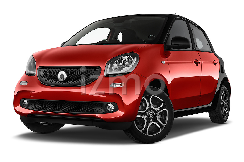 Stock pictures of low aggressive front three quarter view of a 2015 Smart FORFOUR Prime 5 Door Micro Car Low Aggressive