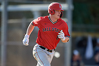 Ball State Cardinals pinch hitter Griffin Hulecki (13) runs to first base during a game against the Mount St. Mary's Mountaineers on March 9, 2019 at North Charlotte Regional Park in Port Charlotte, Florida.  Ball State defeated Mount St. Mary's 12-9.  (Mike Janes/Four Seam Images)