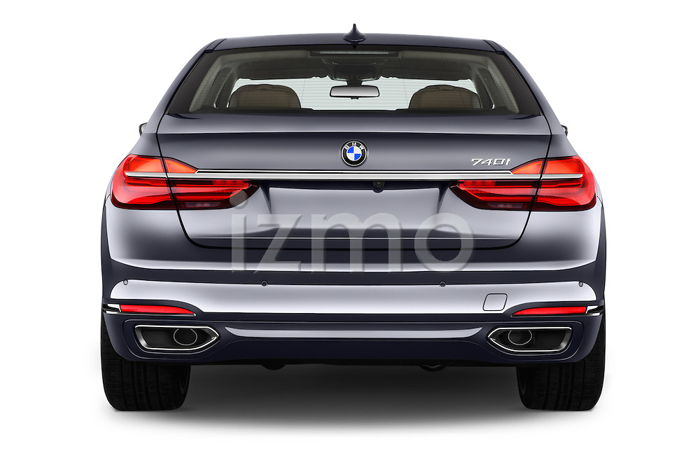 Straight rear view of 2016 BMW 7 Series 740i 4 Door Sedan Rear View  stock images