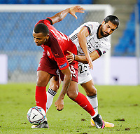 6th August 2020, Basel, Switzerland. UEFA National League football, Switzerland versus Germany;  Manuel Akanji sui challenged by Emre Can ger
