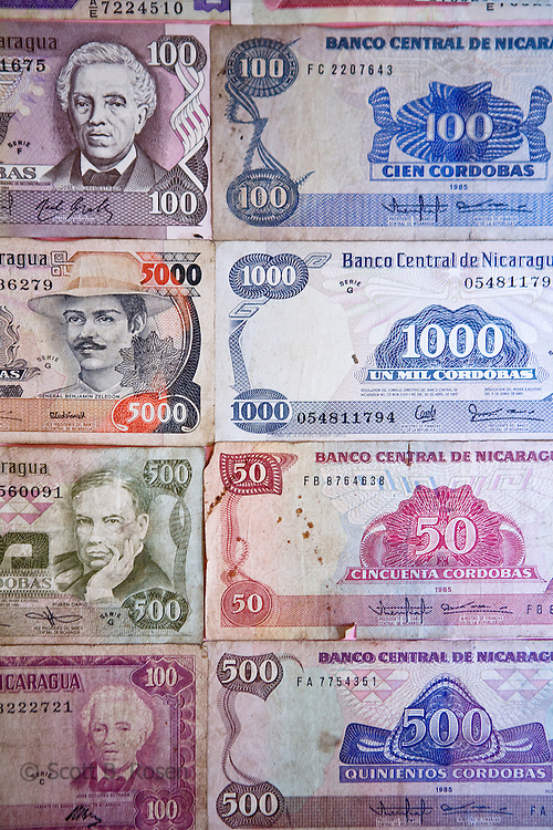 Close-up of Nicarguan Cordobas, Museum of the Revolution, Leon Nicaragua