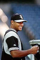 Carlos Lee of the Chicago White Sox during a game against the Anaheim Angels at Angel Stadium circa 1999 in Anaheim, California. (Larry Goren/Four Seam Images)