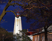 A view of Sandy Hook Lighthouse at dusk before a storm.  This is the oldest working lighthouse in the United States guiding to mariners since 1764.