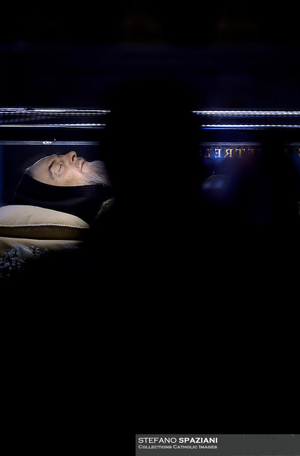 The transparent coffin of St Padre Pio is on display in St Peter's basilica,n Vatican. on February 6, 2016